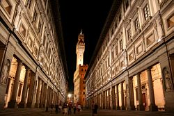 The narrow courtyard between the Uffizi's two wings creates the effect of a short, idealized street Uffizi Gallery,Florence