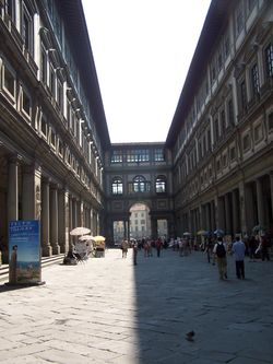 The narrow courtyard, showing view toward the Arno Rive